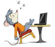 Cartoon mouse asleep at the laptop