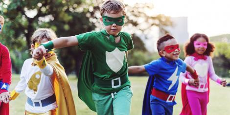 Super heroes - kids dressed as