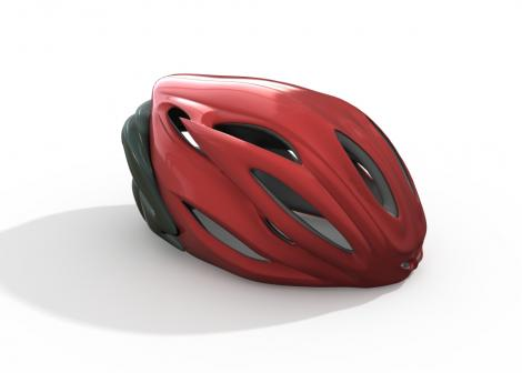 red cycling helmet