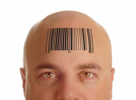 Scan bar on a man's forehead